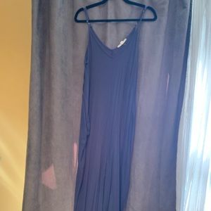 Love stitch blue gray maxi dress